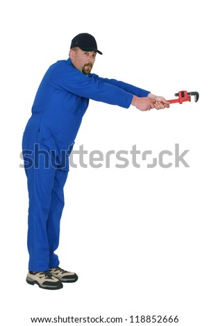 A mechanic with a wrench.