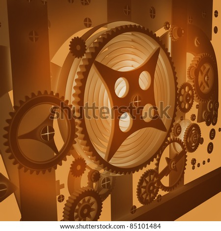 A Mechanical Background with Gears and Cogs 3D render ( high resolution )