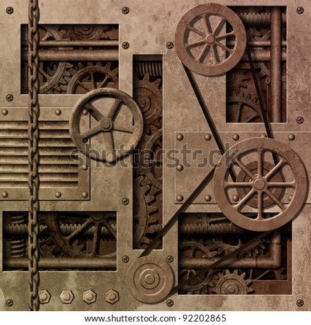 A Mechanical Industrial Background with Gears and Pulleys