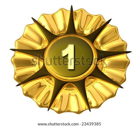 A medal in gold with the number one on it, isolated - stock photo