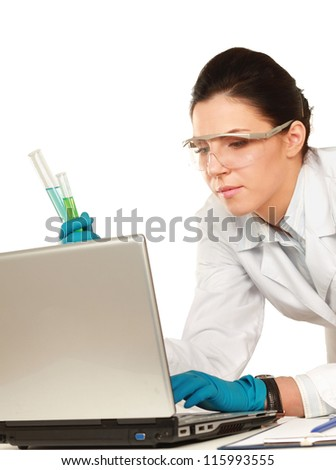 A medical or scientific researcher or doctor looking at a test tube , isolated on white background - stock photo