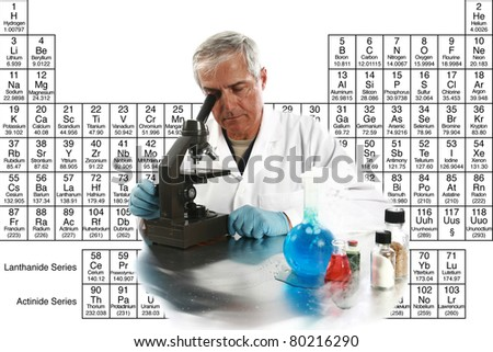 "a medical research scientist or chemist works on a cure for something to help mankind. isolated on white with room for your text, with the ""periodic table of chemical elements"" in the background."