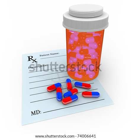 A medicine bottle with several pills outside of it, sitting on a blank prescription note