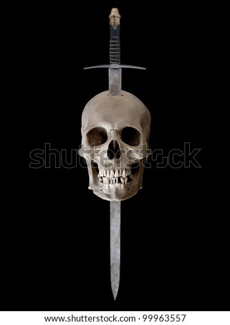 A medieval broadsword thrust through the top of a human skull