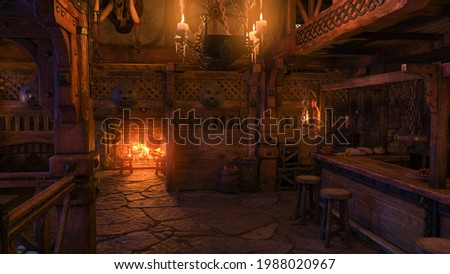 A medieval tavern bar interior lit by candle light and a fire burning in the fireplace. 3D illustration. Foto stock ©