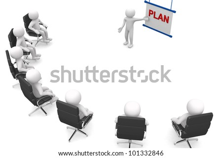 A meeting with people in a presentation - 3d render