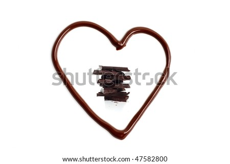 A melted chocolate heart