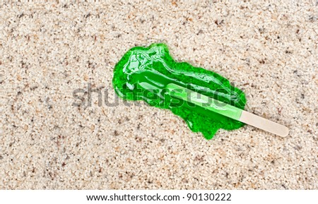 A melting Popsicle on carpet with stain protection.