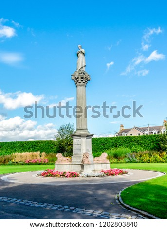 A memorial monument of Duthie park opening by Princess Beatrice in 1883, Aberdeen, Scotland #1202803840