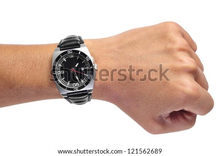a men wearing a black watch with black leather strap over a white background