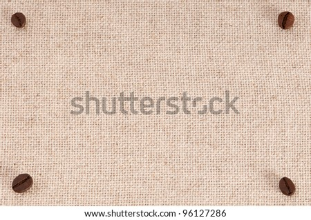 A menu board background with coffee beans on canvas