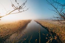 a mesmerizing shot of a long river in Middelburg, Zeeland, The Netherlands