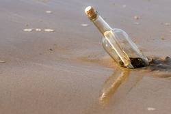 A message in a corked bottle washed up on a beach. The bottle is reflected in the wet sand below. The bottle is standing at an angle. Sunny day.