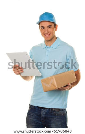 A messenger delivered by courier service parcel post - stock photo