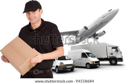 A messenger holding a package and a transportation fleet