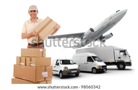 A messenger, packages and a transportation fleet