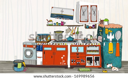 A messy kitchen with a slanted cupboard hanging above.