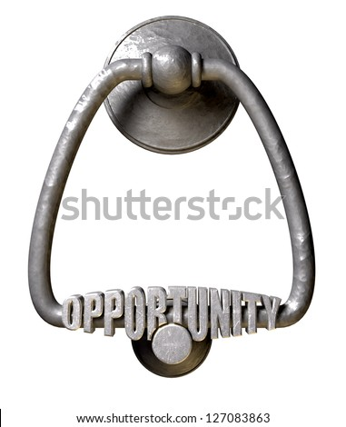 A metal door knocker with the word opportunity extruded on it on an isolated background