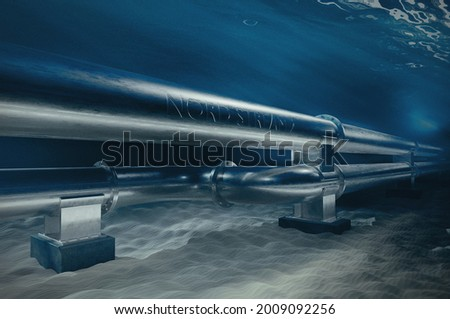 A metal gas pipeline on ocean bottom underwater. 3D illustration of the pipes with an inscription Nord stream 2 going underwater. 3D rendering. Photo stock ©