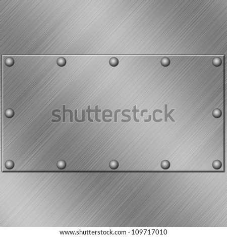 A Metal Plate Background with Rivets - stock photo