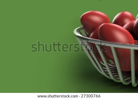 A metal plate with Easter red eggs. Computer generated three dimensional concept against a green background (with DOF effect)