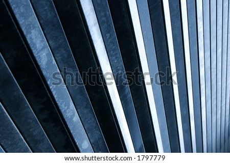 A metal shutter forming a set of abstract lines