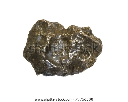 A metallic iron meteorite isolated on white. About 5 cm long.
