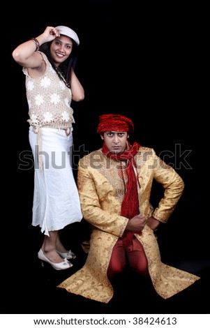 Indian man dressed as a royal afghan man and an Indian woman dressed