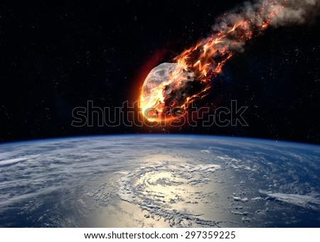 Stock Photo A Meteor glowing as it enters the Earth's atmosphere. Elements of this image furnished by NASA