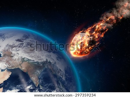 A Meteor glowing as it enters the Earth\'s atmosphere. Elements of this image furnished by NASA