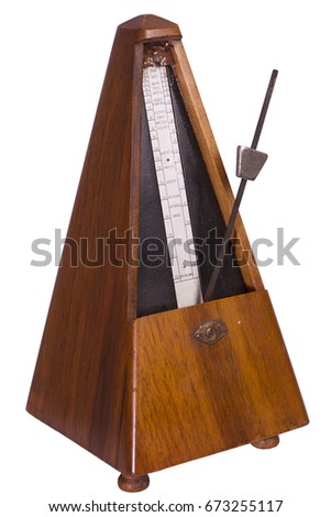 A metronome is a device that produces an audible beat—a click at regular intervals that the user can set in beats per minute. Musicians use the device to practice playing to a regular pulse. #673255117