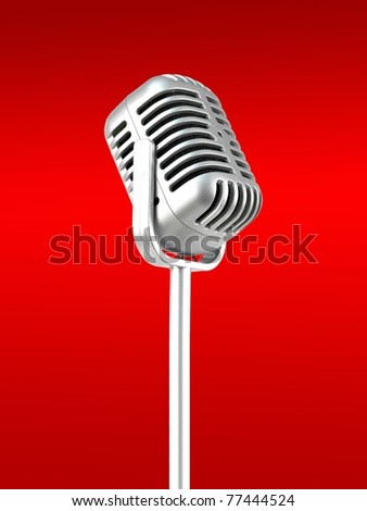 A microphone isolated against a red background