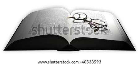 A mid sized book with glasses.
