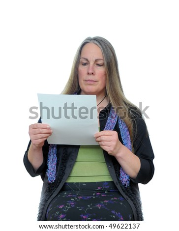 A middle aged woman reading a white paper isolated on white background