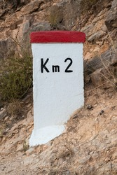 A milestone with second kilometer sign, spain