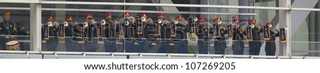 A military band of trumpeters performs on the balcony of the Clinton Presidential Library.   Bill Clinton will officiate the opening of his presidential library November 18, 2004 in Little Rock, AK