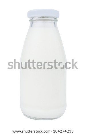 a milk bottle isolated on a white background - stock photo