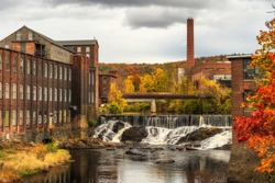 A mill in the Fall in Massachusetts