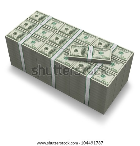A million dollar stack of US banknotes on white background
