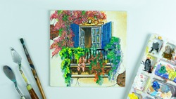 A mini canvas painting of Kolkata window with equipment and colour palate  white background