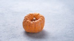 a mini  orange  ugly rotten pumpkin on a blue gray background. Top view and copy space