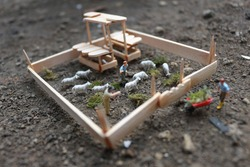 a miniature photo of a goat farm when the shepherds want to feed the goats with grass.
