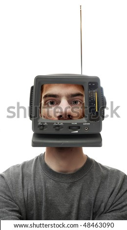 A miniature television screen on a person's head. This demonstrates what is on his mind, and perhaps brainwashing.