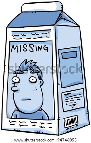 A missing person notice on a cartoon carton of milk. - stock photo