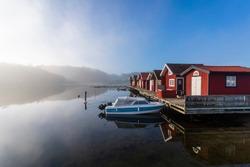 A misty morning in the small village Fiskebäckskil on the Swedish West coast, Bohuslän.