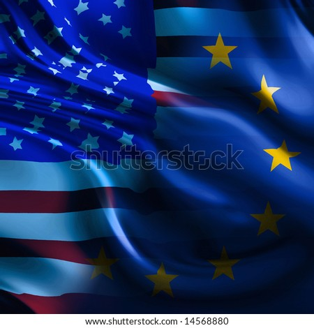 a mix of the flags of europe and america