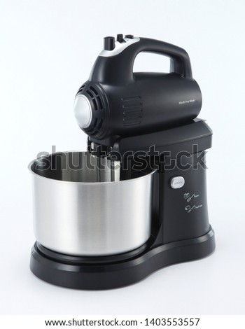 A mixer, hand mixer or stand mixer, is a kitchen device that uses a gear-driven mechanism to rotate a set of