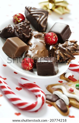 a mixture of delicious gingerbread assortments, covered in chocolate