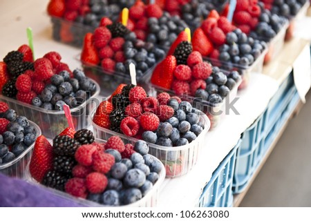 A mixture of delicious looking berries.