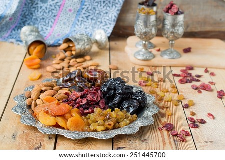 A mixture of dried fruits and nuts